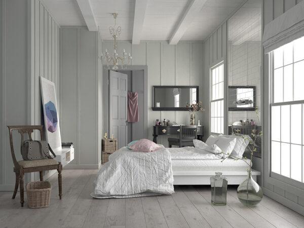 Stylish white monochrome bedroom interior