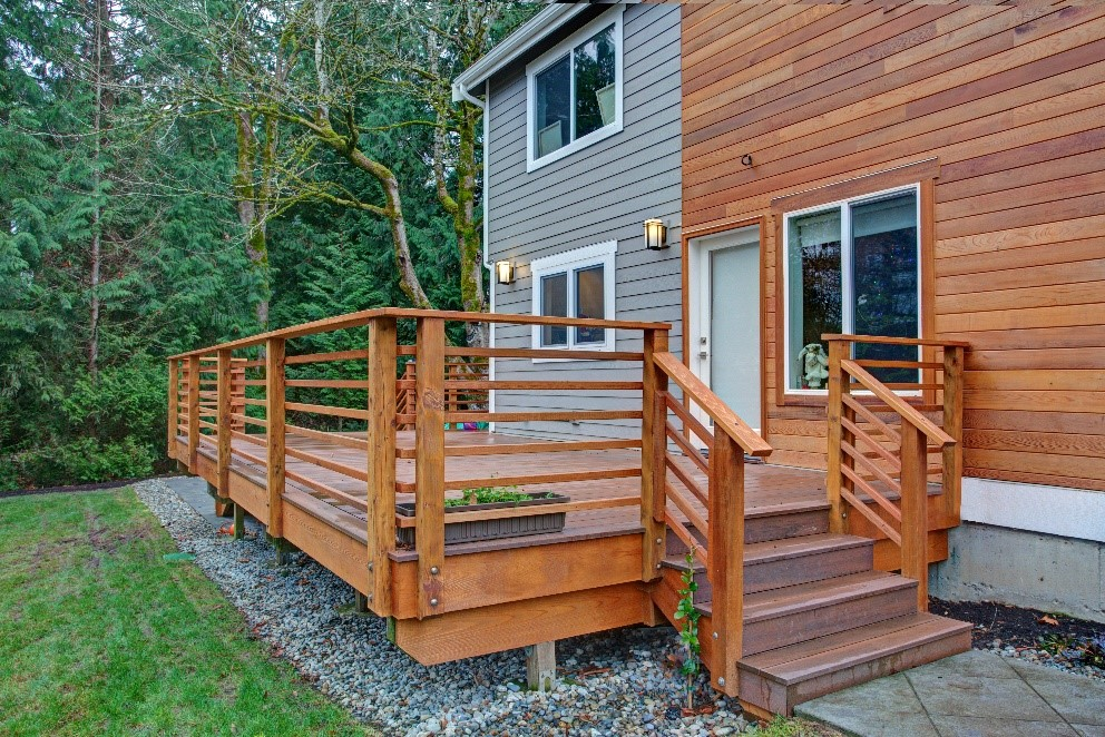 Renovated home with beautiful wood exterior siding